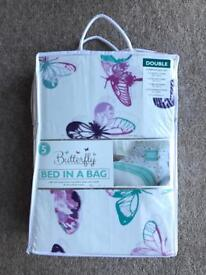BRAND NEW BUTTERFLY BED IN A BAG - DOUBLE COMPLETE BED SET