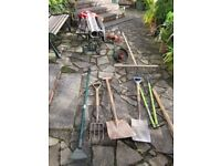 Selection of garden tools incl electric strimmer and vac