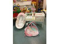 !Bargin! Cot With COCONUT ORGANIC Mattress, Baby Basket And Baby Gym!!