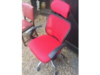 Red fully adjustable office chair