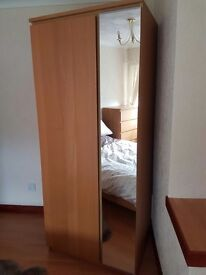 Used twice in spare room, Bed + mattress, chest of drawers, side unit and wardrobe.