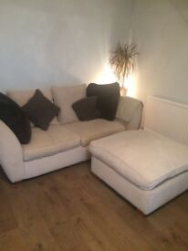 DFS Sofa Bed in Beige with Large Footstool