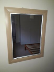 Contemporary Beech Framed Wall Mirror