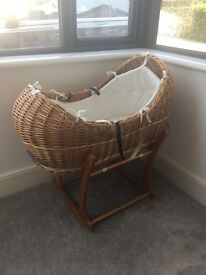 Mothercare snug Moses basket and rocking stand