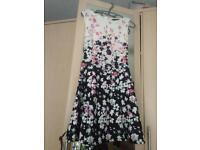 Black white pink poppy dress