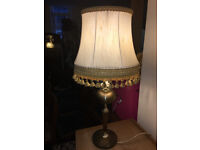 Appealing Antique Brass & Wood Table Lamp with Cream and Gold Tassel Shade