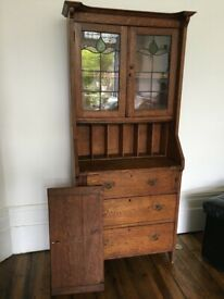 Antique arts and crafts oak bureau/bookcase