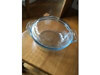 LARGE GLASS CASSROLE OVEN DISH - TWO AVAILABLE