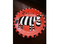 Children's zebra wall plate