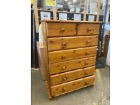 Pine chest of drawers approx 78cm wide depth 40cm height 108cm