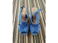 Blue wedge shoes size 6 wide fit ex con