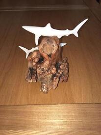Blue shark duo sculpture