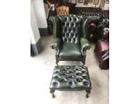 Stunning green leather chesterfield Queen Anne chair and stool UK delivery