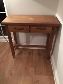 Solid oak small console table