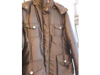 Brown metal coat with hood