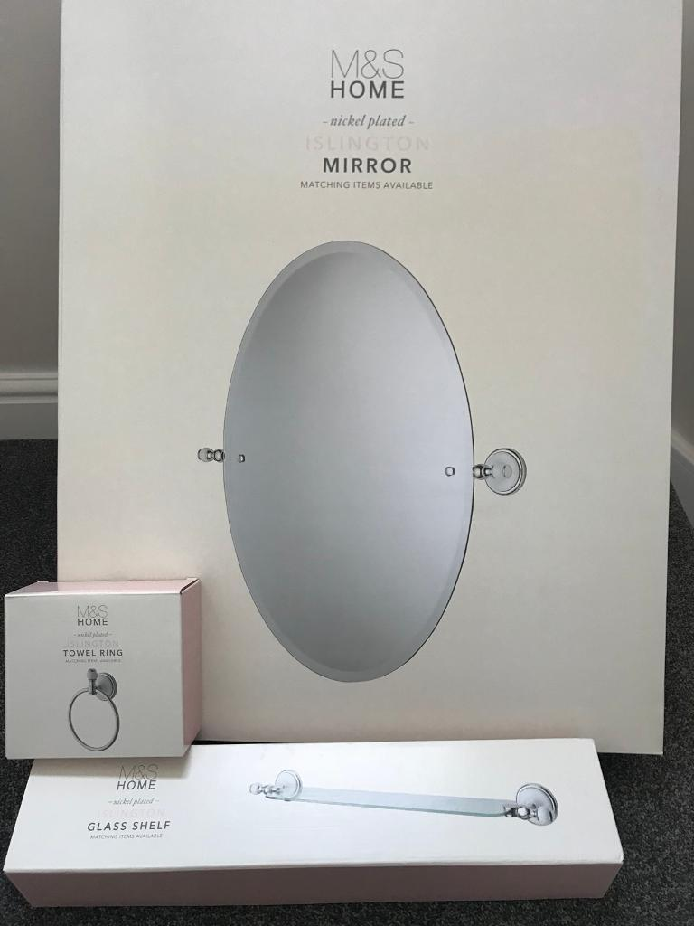 Marks and Spencer Islington range bathroom mirror, towel ring and ...