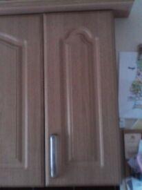 Pair of B&Q cabinet doors in light oak