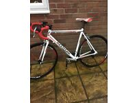 """Road bike 28"""" frame white and red £70. Aluminium frame only a year old hardly used"""