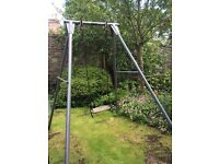 Tp metal swing frame and wooden seat
