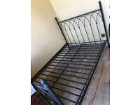 Double bed frame - black, decorative wrought iron
