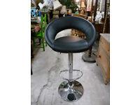 Leatherette Chrome Bar Stool Spins Adjustable Height Breakfast Bar Seat