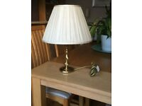 Table Lamp in Brass with Cream Silk Shade