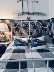 Double bed frame. white, metal Ikea