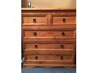 Mexican Pine, 2 double wardrobes, chest of drawers, 2 bedside tables