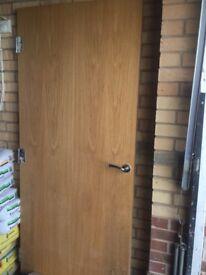Solid oak door and ironmongery