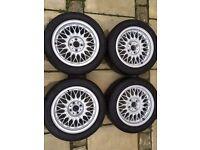 """BBS RZ 15"""" alloy wheels with Toyo R1R tyres. BMW E30, VW, MAZDA, 4x100 et24"""