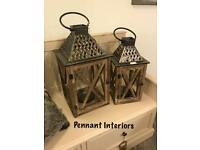 Large rustic wood and lattice top lanterns