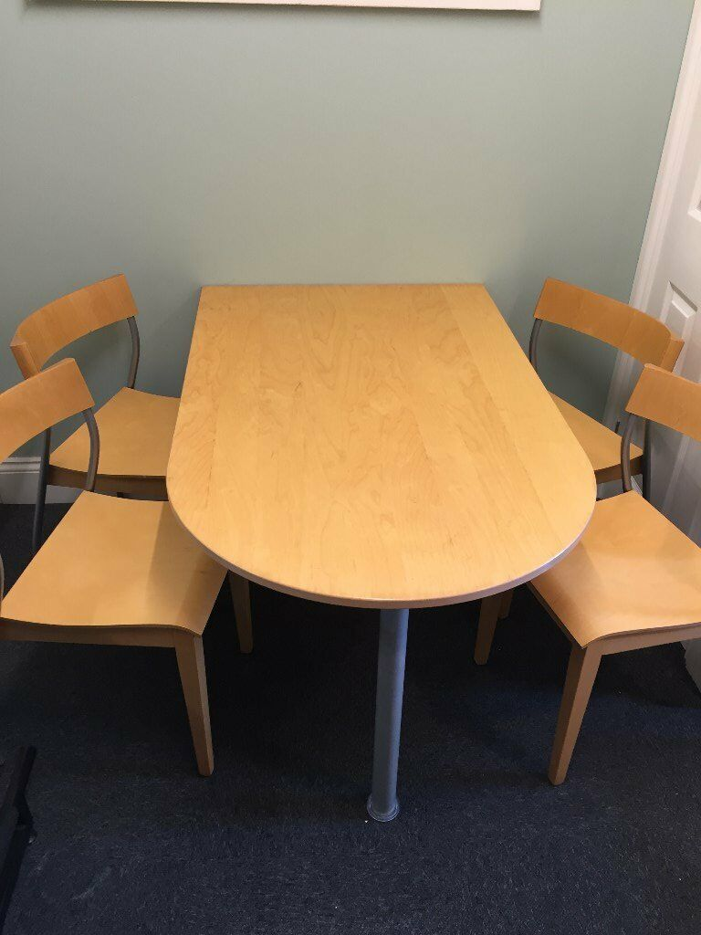 SMALL WALL MOUNTED HOME /OFFICE MEETING TABLE AND FOUR