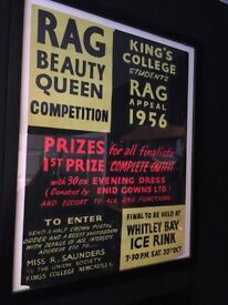 Vintage local advertising poster 50s 60s framed