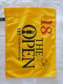 Berhard Langer Signed 18th green flag from Carnoustie.