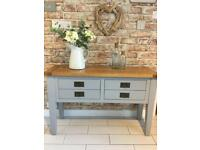 Solid Oak sideboard/ console table In grey