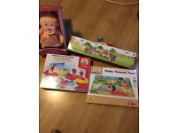 Wee baby Stella,chunky farmyardpuzzle,craum cado cranium,Rush hour puzzel,wooden train New £10 each