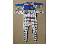 Set of 3 Mothercare tractor boy sleepsuits age 18-24 months