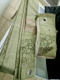 2 pairs of Dunelm Mill pale green eyelet curtains, W117 x D228 cm