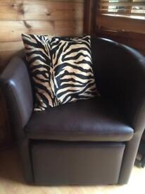 faux brown leather tub chair