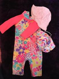 9-12 swim suit, re-useable nappy and sun hat