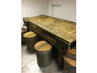 Wooden work bench 2130 x 920. Has drawer one side. Excludes stools. PUO OL16