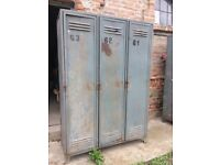 Huge Vintage Industrial Metal Factory Storage Lockers, Wardrobe, Cabinet