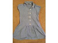 2x Girl's Blue Gingham Checked School Dresses