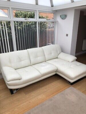 Large White Leather Lounger Sofa With Leather Foot Stool
