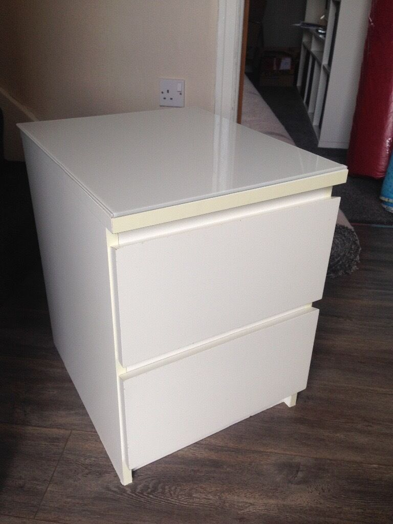 Ikea Malm Bedside Table With Glass Protector Top In
