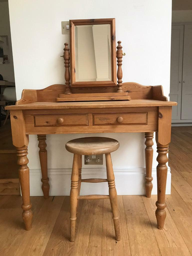 Mirrored Vanity Table And Stool: Antique Pine Dressing Table With Swivel Mirror And Stool