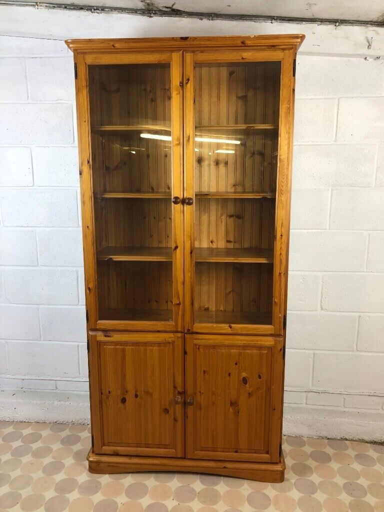 Large Tall Pine Solid Wood Farmhouse Glass Door Pantry ...