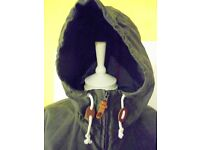 Mens Maloja Hooded Canvass Style Jacket. Grey. Size Medium