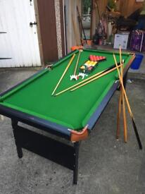 Pool / snooker table with balls and cues