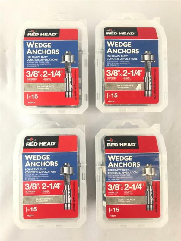 "* (4 Boxes) Red Head Wedge Anchors 3/8"" Dia x 2-1/4""L 15 Pieces Per Box 13015"